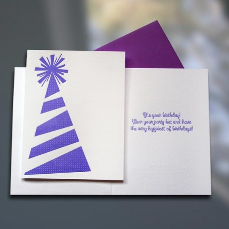 Birthday Party Hat Letterpress Card - Sky of Blue Cards - $4.50