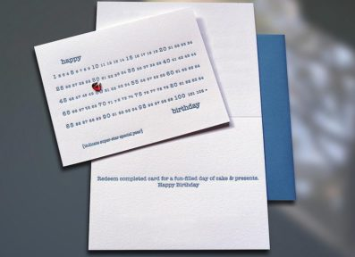 Birthday Years 1-102 w/Gemstone Sticker Letterpress Birthday Card – Sky of Blue Cards – $5.00