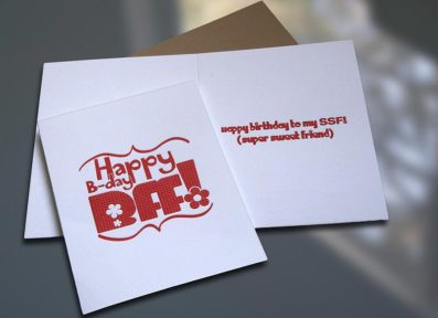 BFF Letterpress Birthday Card – Sky of Blue Cards – $4.50