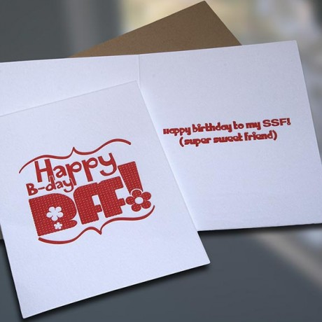 BFF Letterpress Birthday Card - Sky of Blue Cards - $4.50