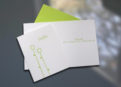 Besties Tulips Letterpress Card – Sky of Blue Cards – $4.50
