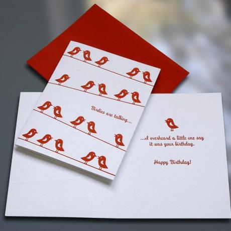 Birdies Letterpress Birthday Card - Sky of Blue Cards - $4.50