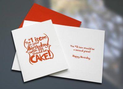 Cake Letterpress Birthday Card – Sky of Blue Cards – $4.50