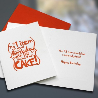 Cake Letterpress Birthday Card – Sky of Blue Cards – $4.50