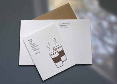 Coffee Friends Letterpress Card – Sky of Blue Cards – $4.50