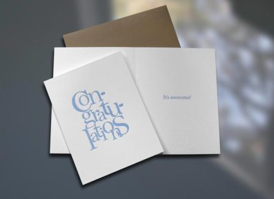 Congratulations Stacked Letterpress Card – Sky of Blue Cards – $4.50