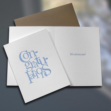 Congratulations Stacked Letterpress Card - Sky of Blue Cards - $4.50
