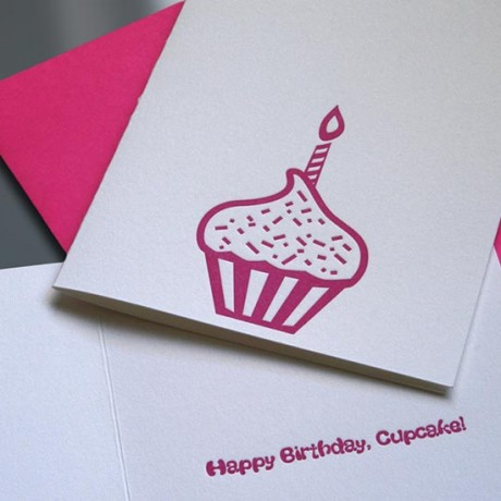 Cupcake Letterpress Birthday Card - Sky of Blue Cards - $4.50