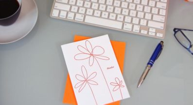 Doodle Flowers Letterpress Thank You Card – Sky of Blue Cards – $4.50 single $18 boxed set of 8