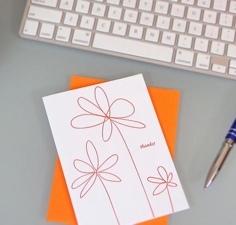 Doodle Flowers Letterpress Thank You Card - Sky of Blue Cards - $4.50 single $18 boxed set of 8