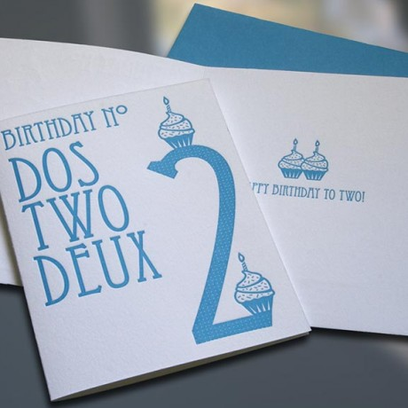 Dos-Two-Deux Letterpress Birthday Card - Sky of Blue Cards - $4.50