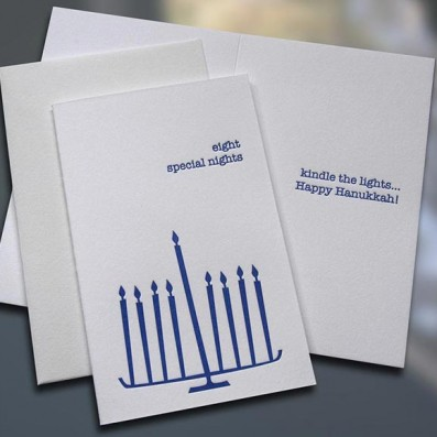 Eight Special Nights Hanukkah Letterpress Card – Sky of Blue Cards – $3.80 Single $15 Box Set of 6