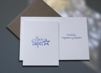 Graduate Superstar Graduation Card – Sky of Blue Cards – $4.50 each