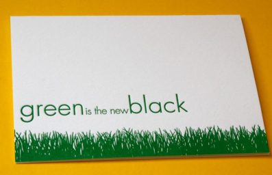 Green Grass Blank Letterpress Note Card – Sky of Blue Cards – $4.50