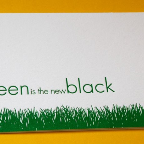 Green Grass Blank Letterpress Note Card - Sky of Blue Cards - $4.50