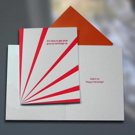 Groovy Birthday Letterpress Card - Sky of Blue Cards - $4.50
