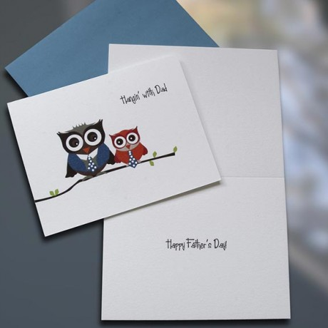 Hangin With Dad Owls Father's Day Card - Sky of Blue Cards - $4.50 each
