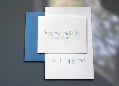 Happy 40th Birthday Card – Sky of Blue Cards – $4.50