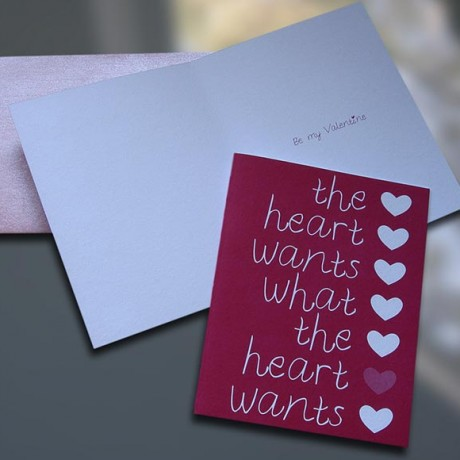 Heart Wants Valentine's Day Card - Sky of Blue Cards - $4.50