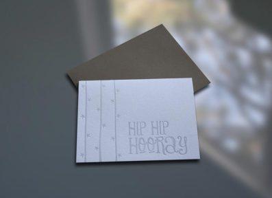 Hip Hip Hooray Letterpress Note Card – Sky of Blue Cards – $4.50