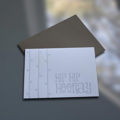 Hip Hip Hooray Letterpress Note Card – Sky of Blue Cards – $4.50