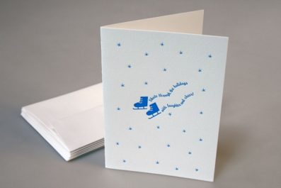 Ice Skates Letterpress Holiday Card – Sky of Blue Cards – $4.50 single $18 boxed set of 8