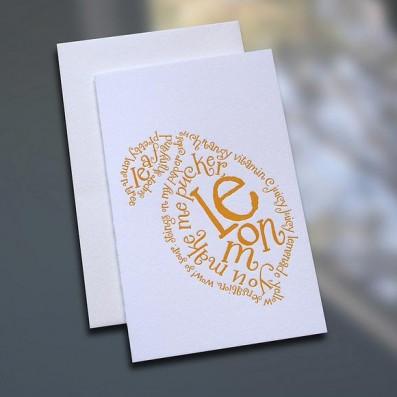 Lemon Poem Letterpress Note Card – Sky of Blue Cards – $3.80 each