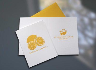 Lemons to Lemonade Letterpress Card – Sky of Blue Cards – $4.50