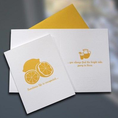 Lemons to Lemonade Letterpress Card – Sky of Blue Cards – $4.50