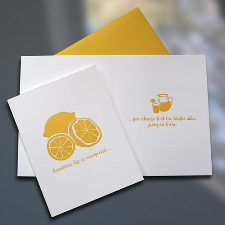 Lemons to Lemonade Letterpress Card - Sky of Blue Cards - $4.50