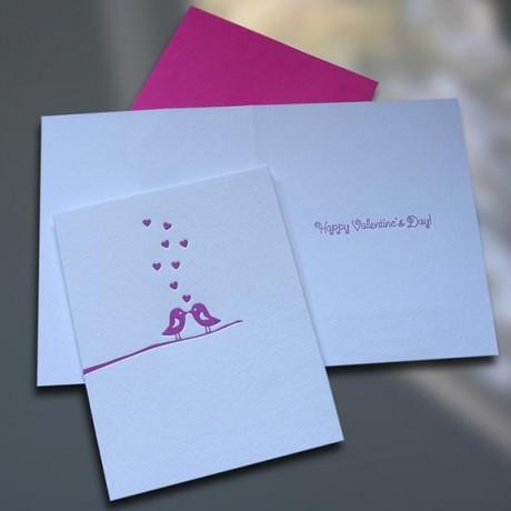 Love Birds Letterpress Valentine's Day Card - Sky of Blue Cards - $4.50