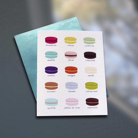 Macaron Chart Letterpress Note Card - Sky of Blue Cards - $4.50