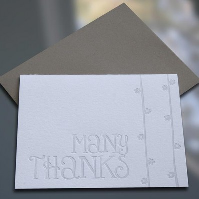 Many Thanks Letterpress Note Cards – Sky of Blue Cards – $4.50 single $18 boxed set of 8
