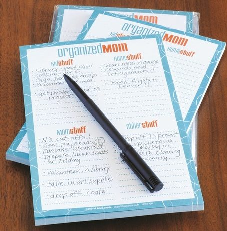 Organized Mom Notepad - Sky of Blue Cards - $8 for 50 sheets