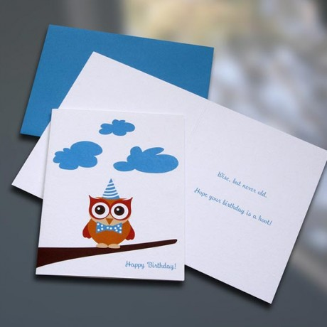 Owl Birthday Card - Sky of Blue Cards - $4.50