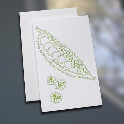 Pea Pod Poem Letterpress Note Card – Sky of Blue Cards – $3.80 each