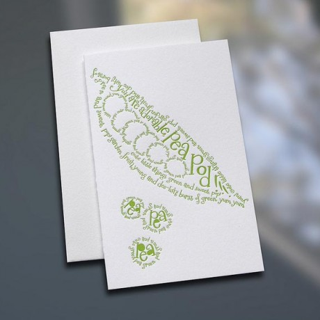 Pea Pod Poem Letterpress Note Card - Sky of Blue Cards - $3.80 each
