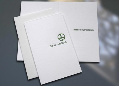 Peace For All Mankind Letterpress Holiday Card – Sky of Blue Cards – $3.80 Single $15 Box Set of 6