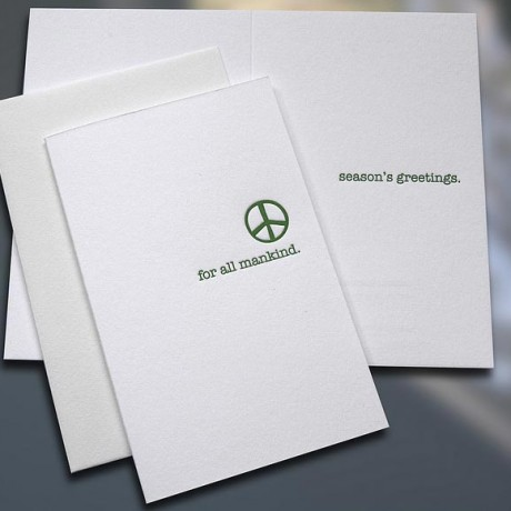 Peace For All Mankind Letterpress Holiday Card - Sky of Blue Cards - $3.80 Single $15 Box Set of 6