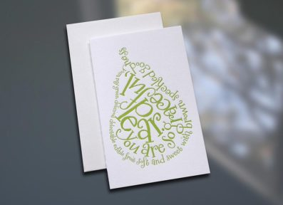 Pear Poem Letterpress Note Card – Sky of Blue Cards – $3.80 each
