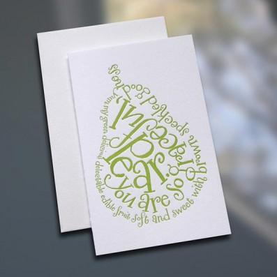 Pear Poem Letterpress Note Card – Sky of Blue Cards – $3.80 each