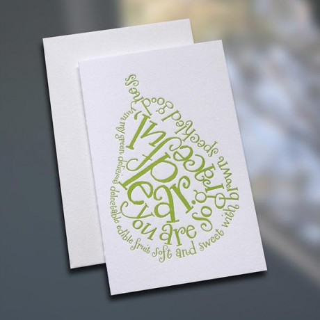 Pear Poem Letterpress Note Card - Sky of Blue Cards - $3.80 each