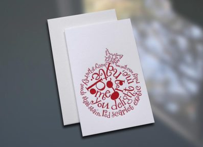 Pomegranate Poem Letterpress Note Card – Sky of Blue Cards – $3.80 each