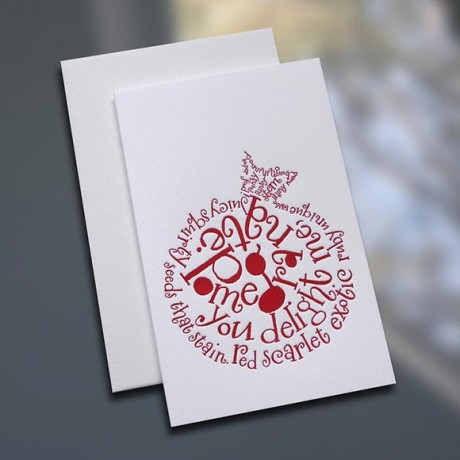 Pomegranate Poem Letterpress Note Card - Sky of Blue Cards - $3.80 each