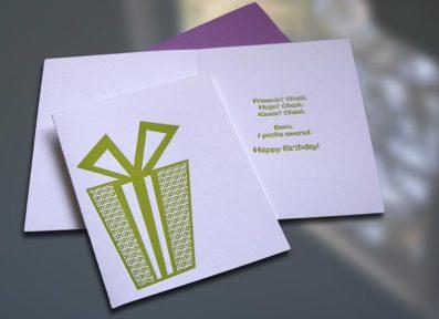 Present Letterpress Birthday Card – Sky of Blue Cards – $4.50