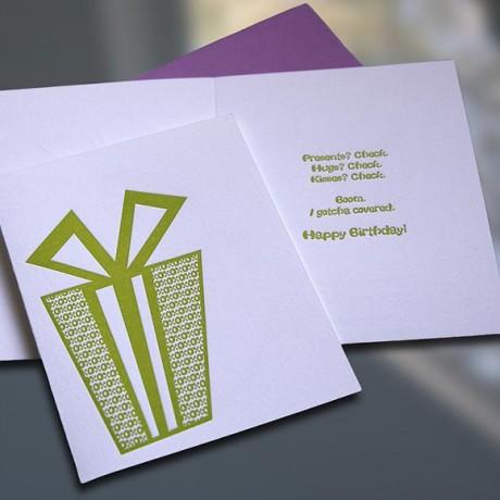 Present Letterpress Birthday Card - Sky of Blue Cards - $4.50