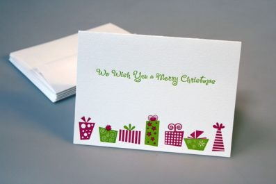 Retro Letterpress Holiday Card – Sky of Blue Cards – $4.50 single $18 boxed set of 8
