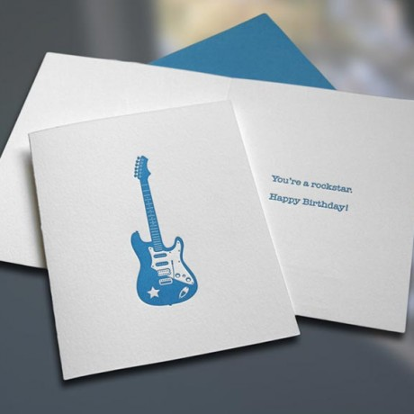 Rockstar Letterpress Birthday Card - Sky of Blue Cards - $4.50