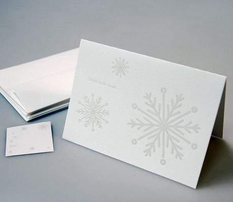 Snowflakes Letterpress Holiday Card - Sky of Blue Cards - $4.50 single $18 boxed set of 8