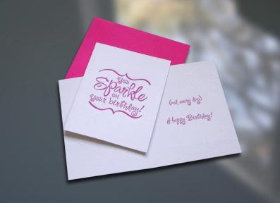 Sparkle Letterpress Birthday Card – Sky of Blue Cards – $4.50